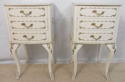 Pair Louis Style White Bedside Chest of Drawers